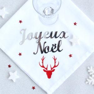 """Mot découpé argent """"Joyeux Noël"""" Décoration de table fête"""