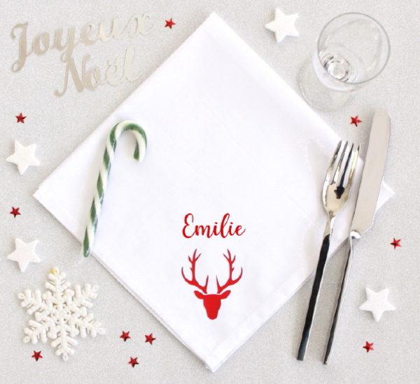 Serviette de table pour Noël Cerf personnalisée