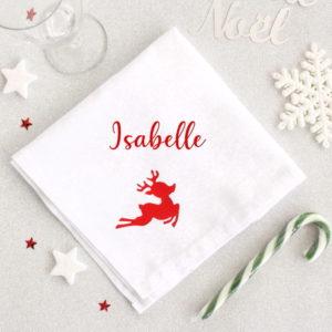 Serviette de table pour Noël Renne personnalisable