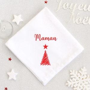 Serviette de table pour Noël Sapin personnalisée