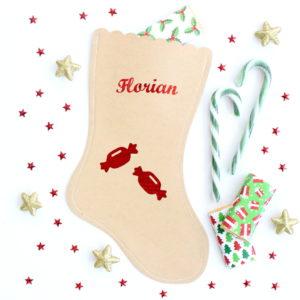 Chaussette botte de Noël bonbons personnalisée