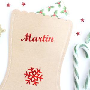 Chaussette botte de Noël flocon personnalisée