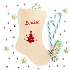 Chaussette botte de Noël sapin personnalisée