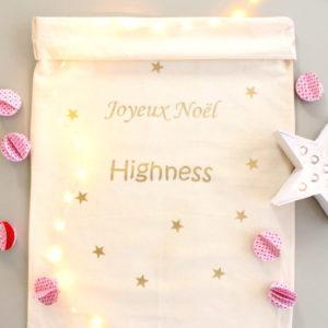 """Sac de Noël Hotte du Père Noël XL Étoiles """"Joyeux Noël"""" personnalisable"""