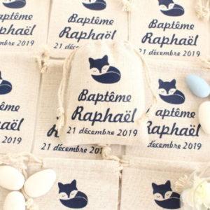 Pochons personnalisés Renard boule pour dragées baptême communion #2