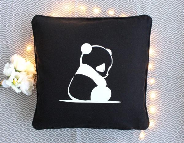 Coussin noir Panda Décoration chambre enfant bébé