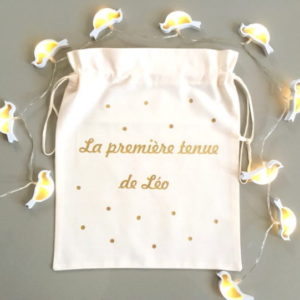 "Pochon sac ""Ma première tenue"" confettis personnalisable"
