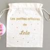 """Pochon sac confettis """"Les petites affaires de"""" personnalisable"""
