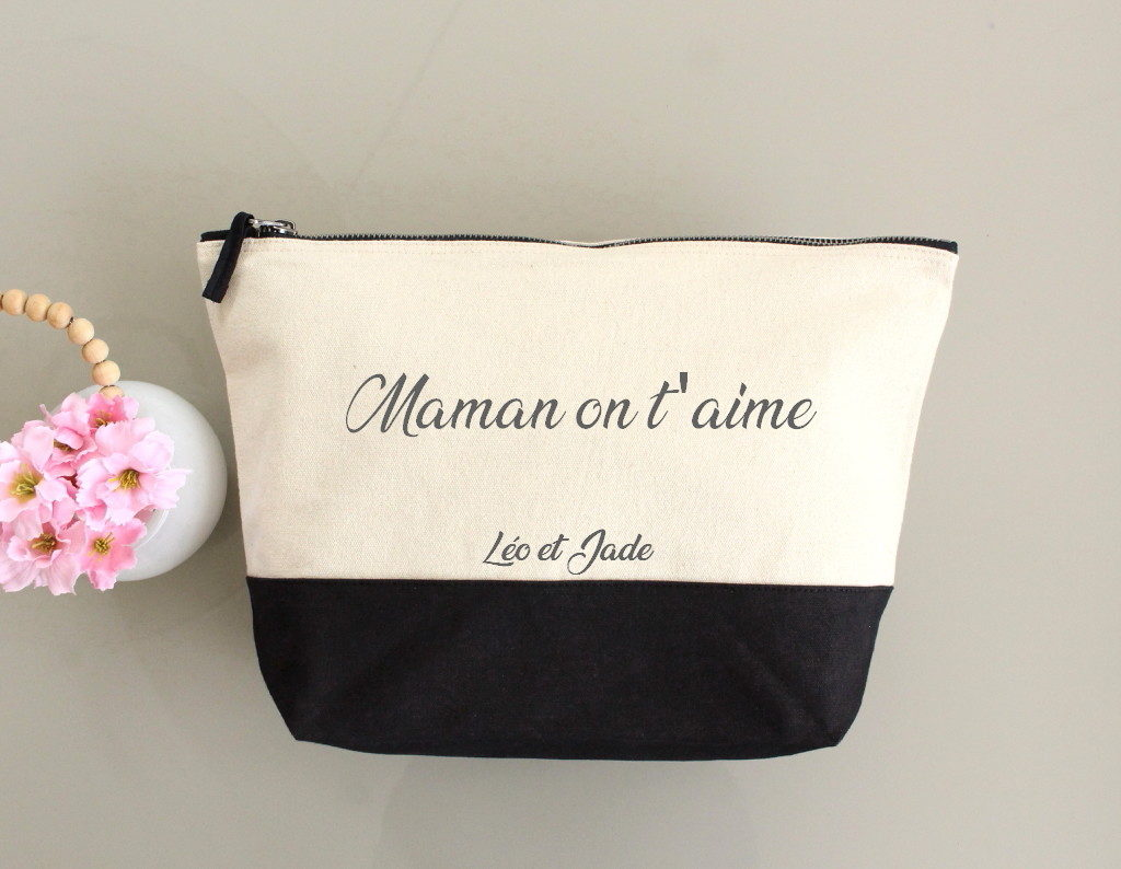 "Trousse bicolore ""Maman on t'aime"" personnalisable"