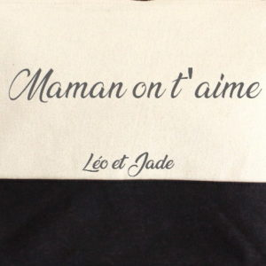 "Trousse bicolore ""Maman on t'aime"" personnalisable"