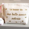 """Trousse Pochette cœurs """"Le bazar de ma belle sœur"""" personnalisable"""