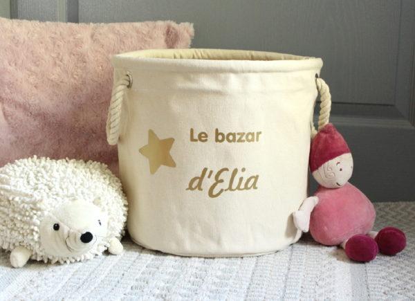 """Panier de rangement Etoile """"Le bazar de"""" or personnalisable"""