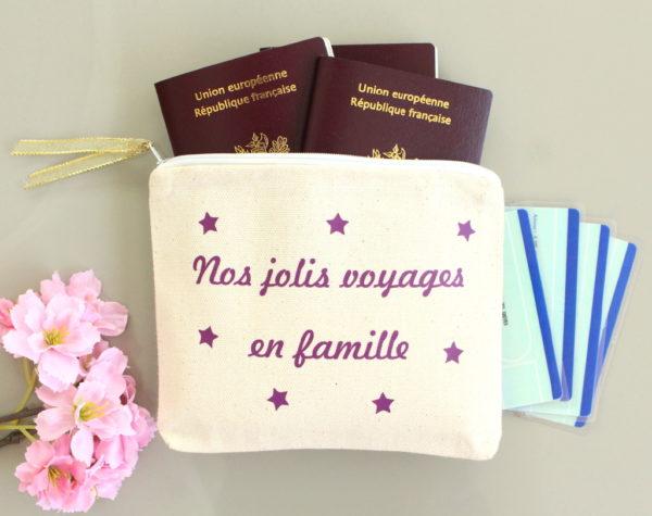 Pochette pour papiers d'identité de voyage passeport personnalisable