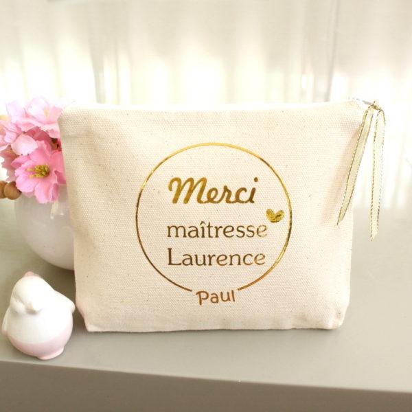 """Trousse Pochette """"Merci maîtresse"""" cerclé cœur personnalisable"""