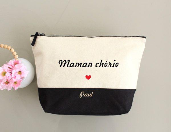 """Trousse bicolore """"Maman chérie"""" cœur personnalisable"""