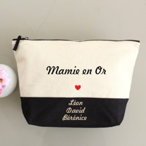 "Trousse bicolore ""Mamie en Or"" personnalisable"