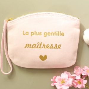 """Pochette trousse pastel """"La plus gentille maîtresse"""" personnalisable"""