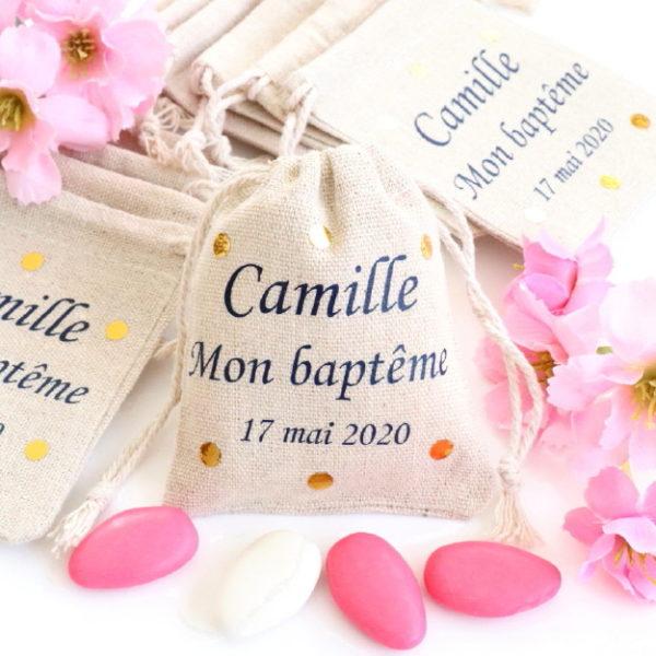 """Pochons personnalisés Confettis Or """"Mon baptême"""" pour dragées"""