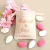 Pochons personnalisés rose or pour dragées ou cadeaux d'invités mariage