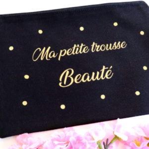 """Pochette noire confettis """"Ma petite trousse Beauté"""""""