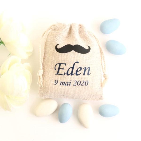 Pochons dragées Moustache noir bleu Eden