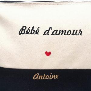 """Trousse bicolore """"Bébé d'amour"""" cœur personnalisable"""