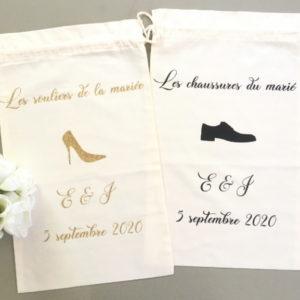 Sac à chaussures des mariés pailleté et noir