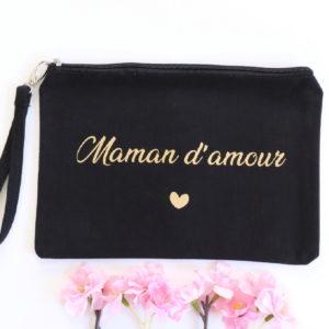 """Pochette trousse noire dragonne """"Maman d'amour"""""""