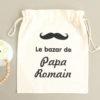 """Pochon sac Moustache """"Le bazar de Papa"""" personnalisable"""