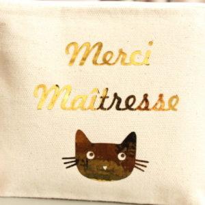 """Trousse Pochette chat """"MERCI maîtresse"""" personnalisable"""