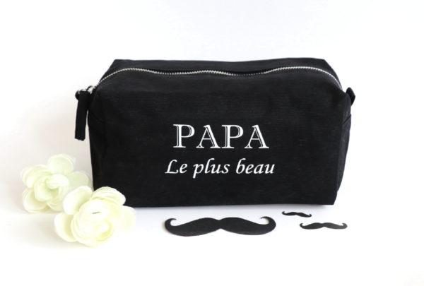 """Trousse de toilette noire """"Papa le plus beau"""" personnalisable"""