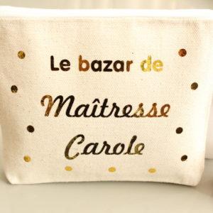"""Trousse Pochette confettis """"Le bazar de maîtresse"""" personnalisable"""