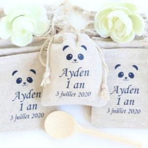 Pochon personnalisé Panda premier anniversaire Cadeaux invités