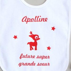 """Bavoir renne """"Future grande sœur"""" personnalisable"""