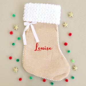 Chaussette de Noël Botte de Noël fourrure personnalisée