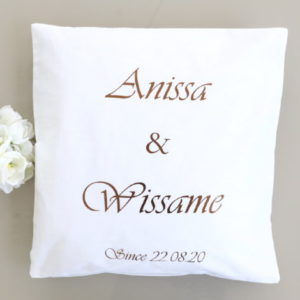 LE Coussin des mariés personnalisé avec prénoms et date