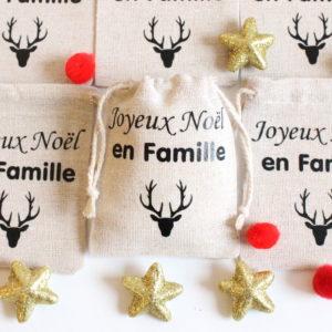 """Mini hotte """"Joyeux Noël en famille"""" Marque place Déco de table Noël"""