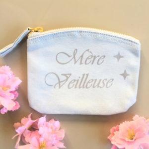 """Pochette Porte-monnaie rose """"Mère Veilleuse"""" étoiles personnalisable"""