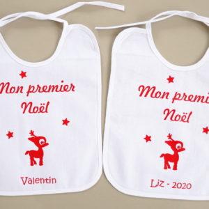 """Bavoir renne """"Mon premier Noël"""" personnalisable"""