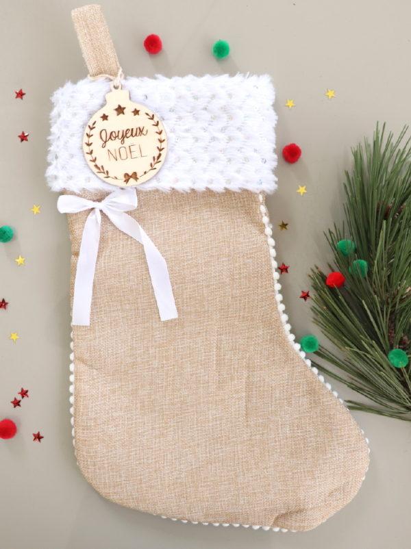 """Botte chaussette de Noël avec boule en bois """"Joyeux Noël"""""""