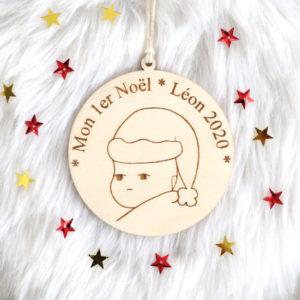"""Boule de Noël en bois Baby """"Mon 1er Noël"""" personnalisable"""