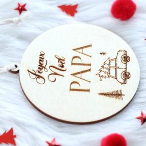 "Boule de Noël en bois ""Joyeux Noël Papa"" personnalisable"