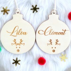 Boule de Noël en bois prénom petit Renne