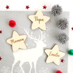 Marque place en bois Étoile personnalisé pour anniversaire Noël baptême
