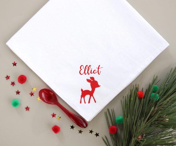 Serviette de table Noël faon