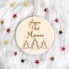 """Boule de Noël en bois sapins """"Joyeux Noël"""" personnalisable"""