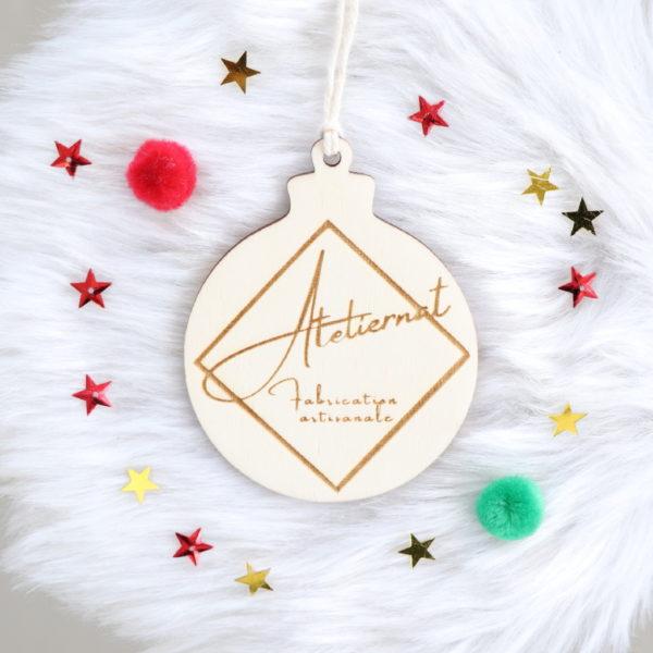 Boule de Noël en bois personnalisable avec Logo professionnel
