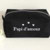 """Trousse de toilette noire """"Papi d'amour"""" personnalisable"""