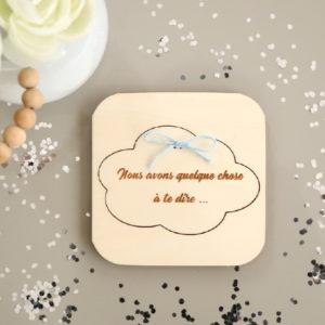 Coffret puzzle en bois Nuage pour annonce personnalisée grossesse bébé