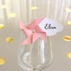 Marque-verre Marque-place Moulin à vent et Nuage pois rose saumon